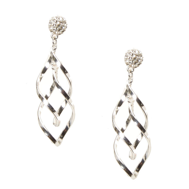 Silver-tone Fireball and Swirl Drop Earrings,