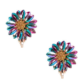 Metallic Rainbow Daisy Clip-on Stud Earrings,