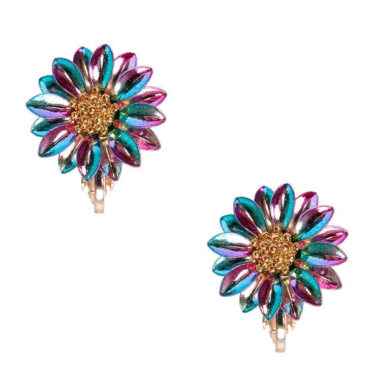Metallic Rainbow Daisy Clip-on Stud Earrings,