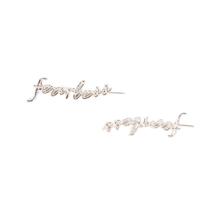 Silver-tone Cursive Fearless Ear Crawlers,