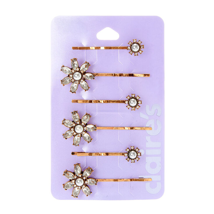 Crystal Flowers Bobby Pin Set,