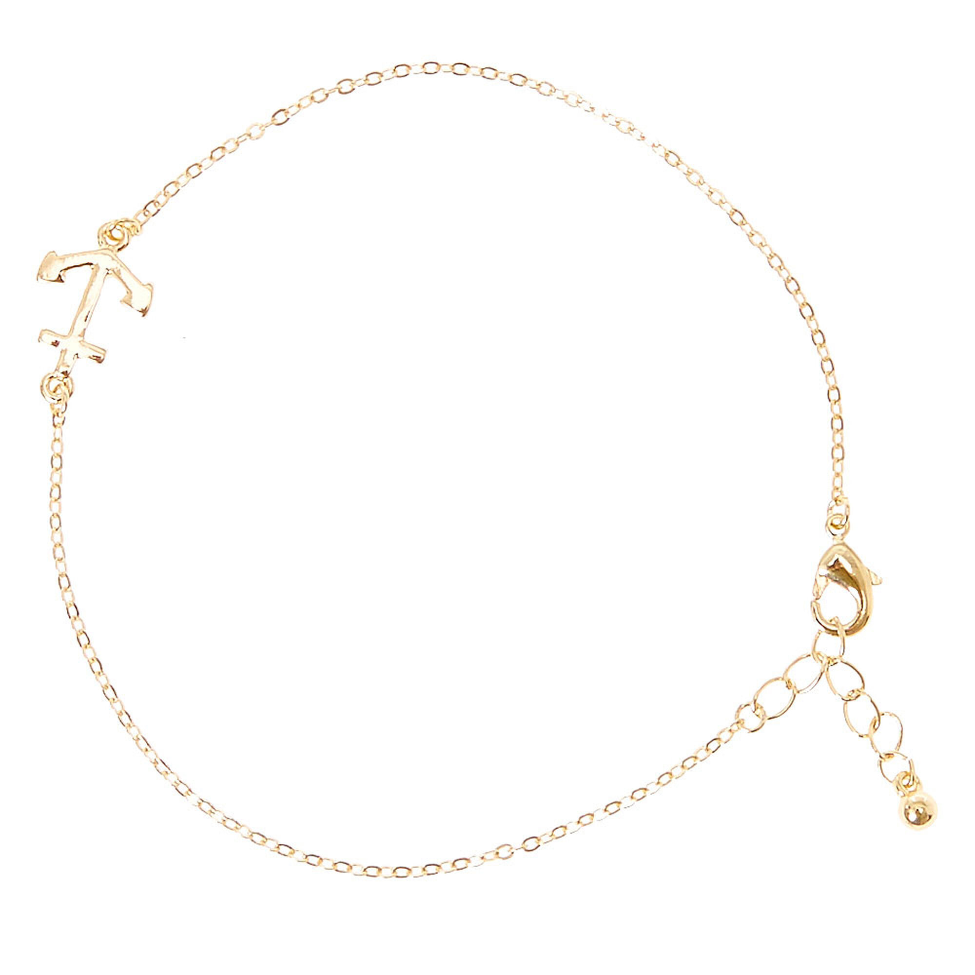 Gold Tone Anchor Ankle Bracelet,