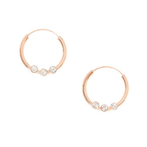 Rose Gold Plated Crystal Hoops,