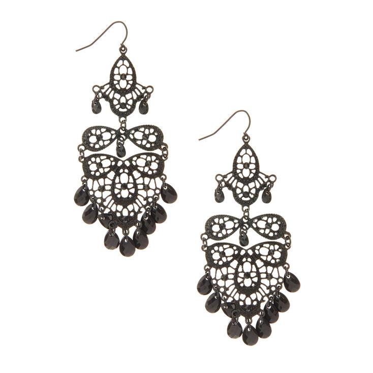 Black Chandelier Drop Earrings,