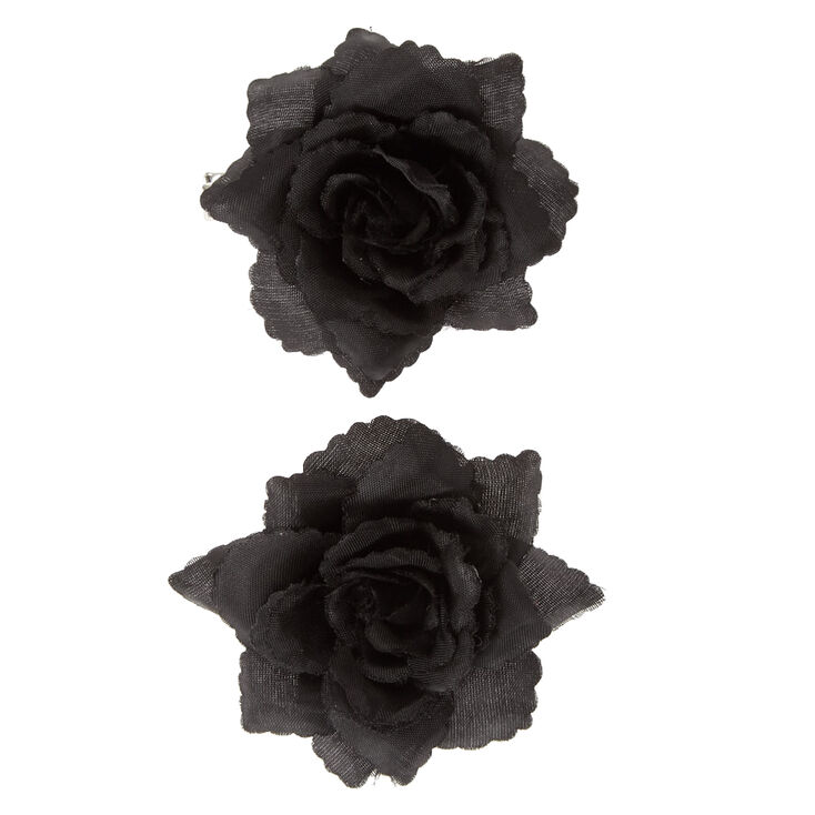 Black Rose Hair Barrettes,