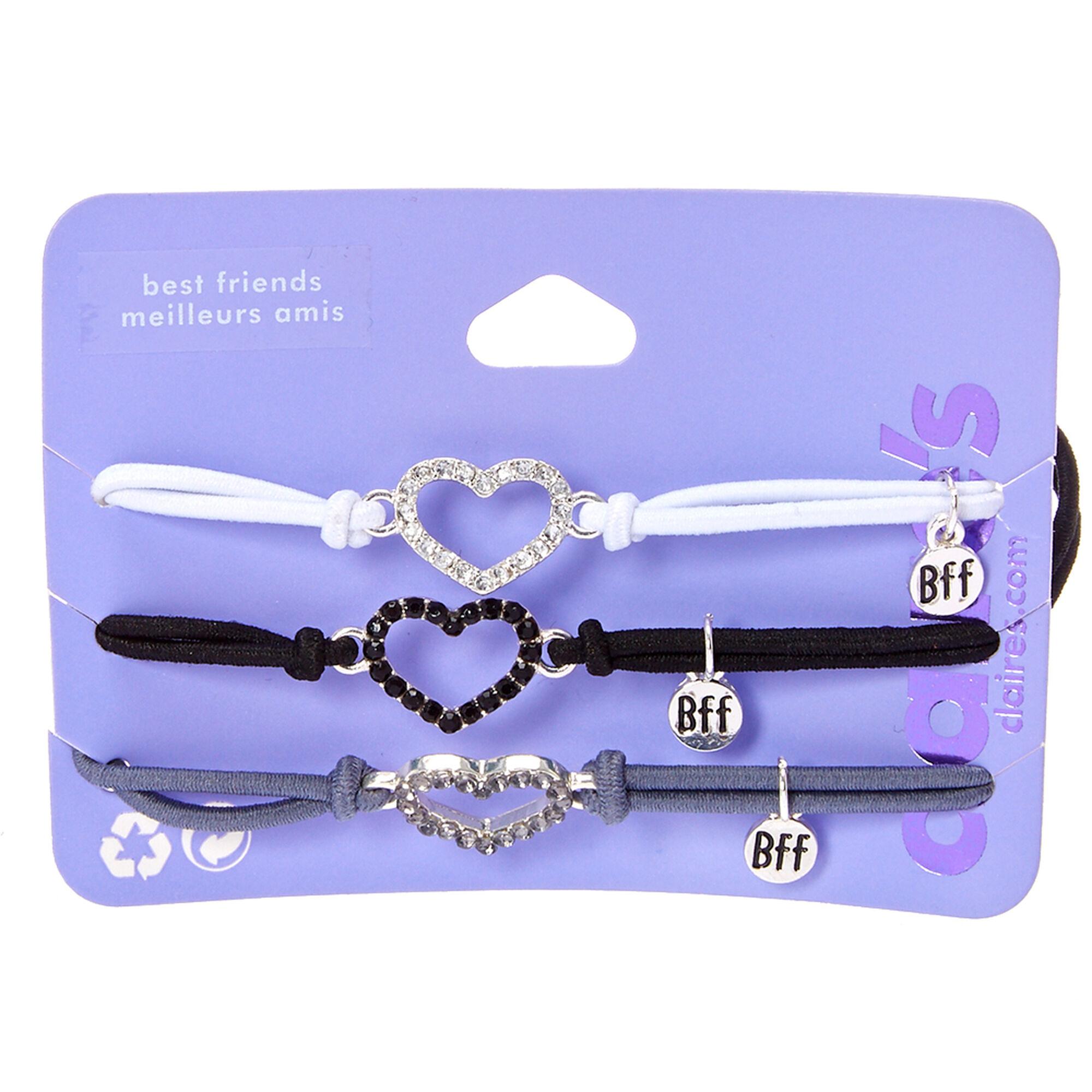 3 Pack BFF Heart Charm Bracelets