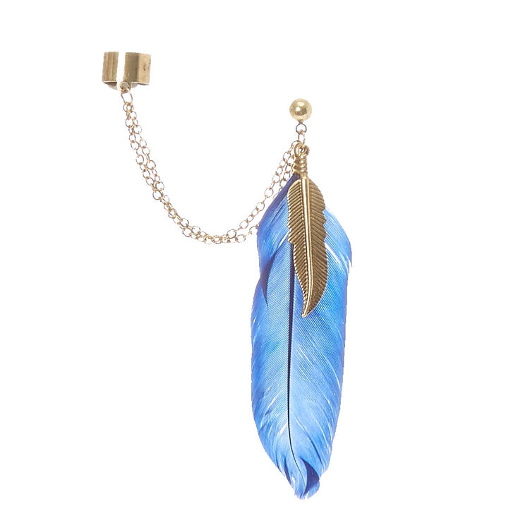 Gold-tone Chain And Blue Feather Ear Cuff,