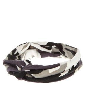 Black And Grey Camo Headwrap,