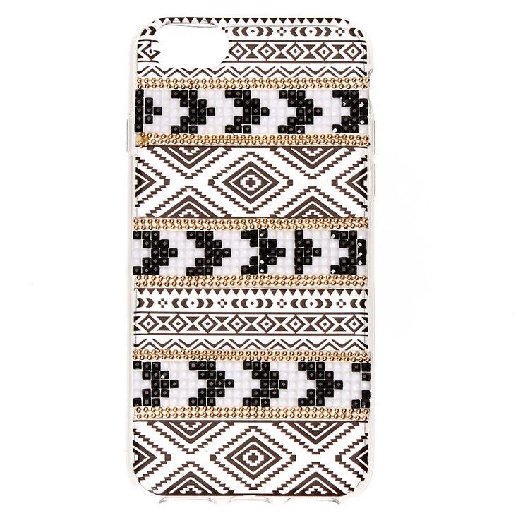 Black, White & Gold Embellished Aztec Phone Case,