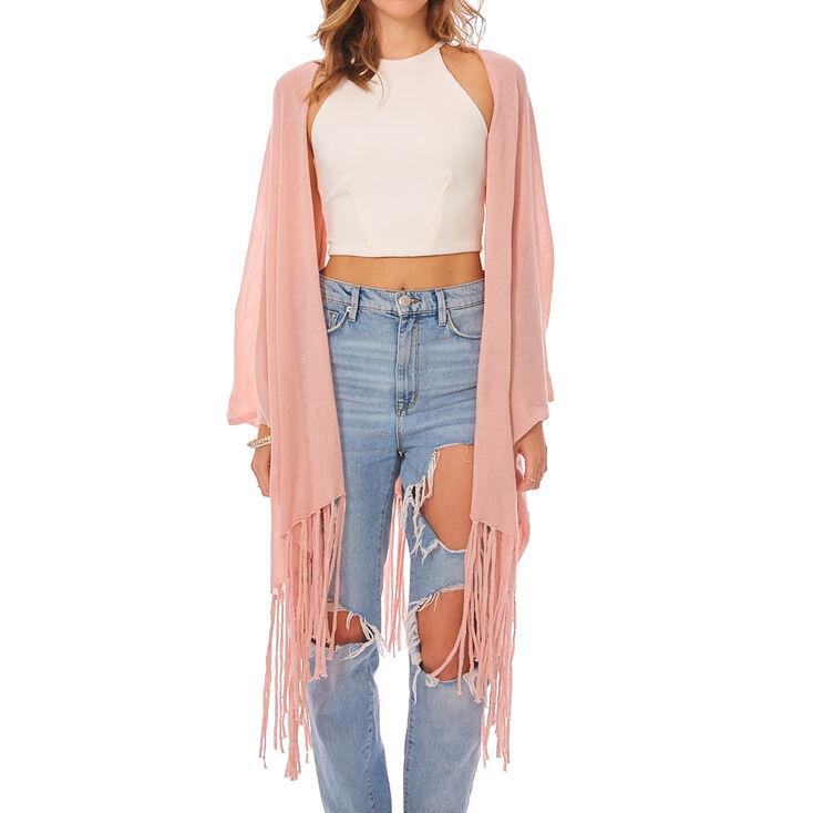 Solid Blush Fringe Kimono,