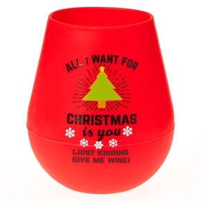 Just Kidding Christmas Silicone Wine Glass,