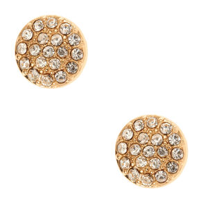 Gold Crystal Button Stud Earrings,