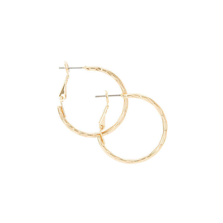 30MM Gold Notched Laser Cut Hoop Earrings,