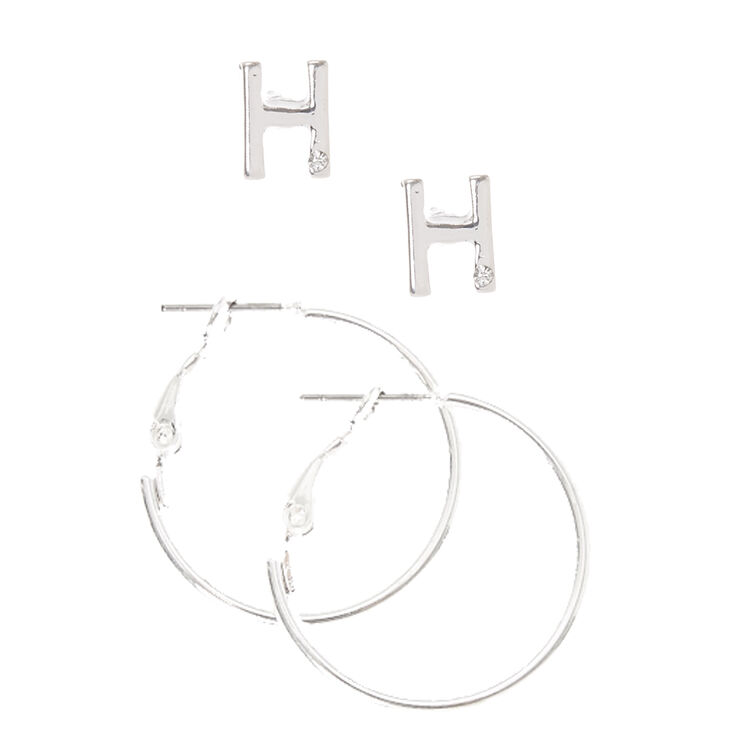 Silver Initial H Stud and Mini Hoop Earrings,