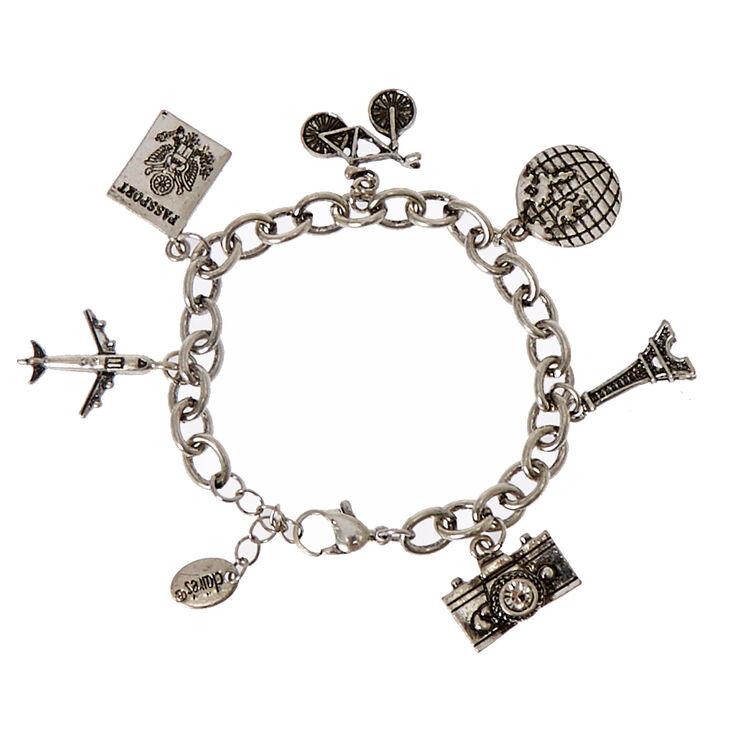 Silver-Tone Travel Themed Charm Bracelet,