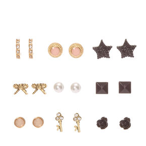 Black and Gold Rocker Chic Stud Earrings,