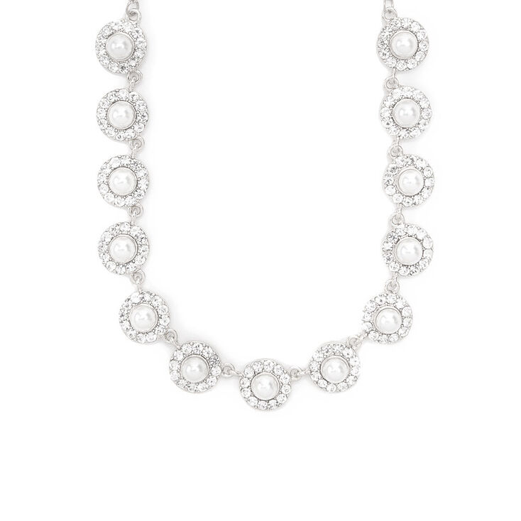 Pearl and Rhinestone Pavé Circles Statement Necklace,
