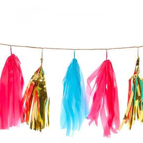 Pink, Gold and Blue Tassle Garland Banner,