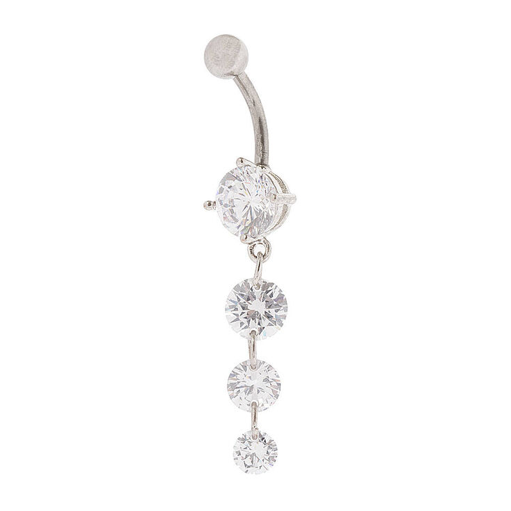 14G Cubic Zirconia Dangle Belly Ring,