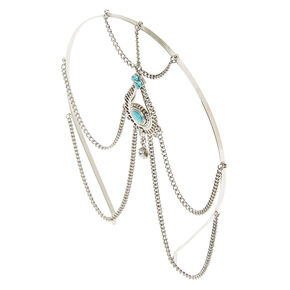 Silver and Turquoise Beaded Head Chain,