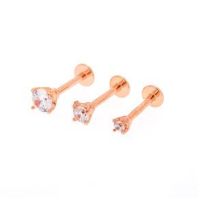 16G Rose Gold Crystal Helix Stud Earrings,
