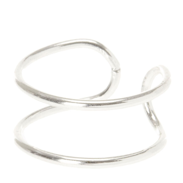 Silver Double Band Ear Cuff,