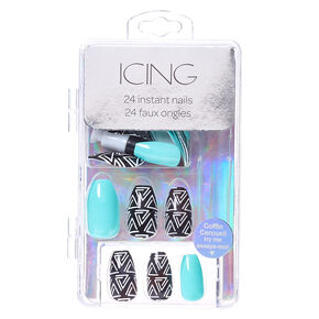 Mint and Aztec Print Coffin Instant Nails,
