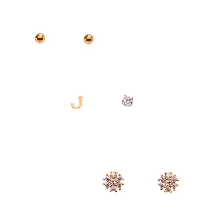 18k Gold Plated J Initial Stud Earring Set,
