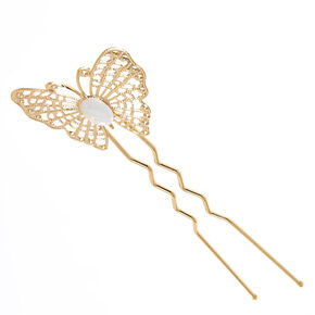 Gold-tone Filigree Butterfly and  Iridescent Stone Bun Tool,