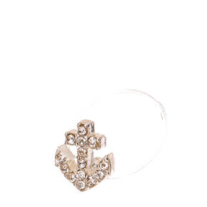 Silver Crystal Anchor Clear Stretch Toe Ring,