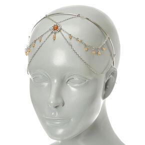Silver Beaded Head Chain,