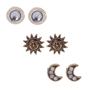 Gold and Silver-tone Celestial Stud Earrings,