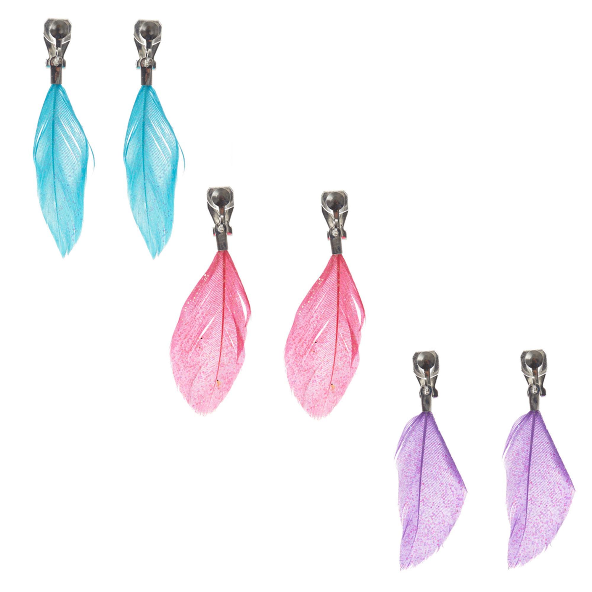Clip On Feather Drop Earrings