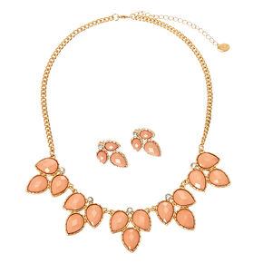3 Leaf Blush Enamel Gem Necklace and Earrings Set,