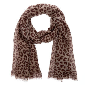 Gray and Brown Oblong Leopard Print Scarf,