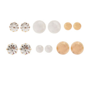 Graduated Crystal, Pearl and Gold Ball Stud Earrings Set of 6,