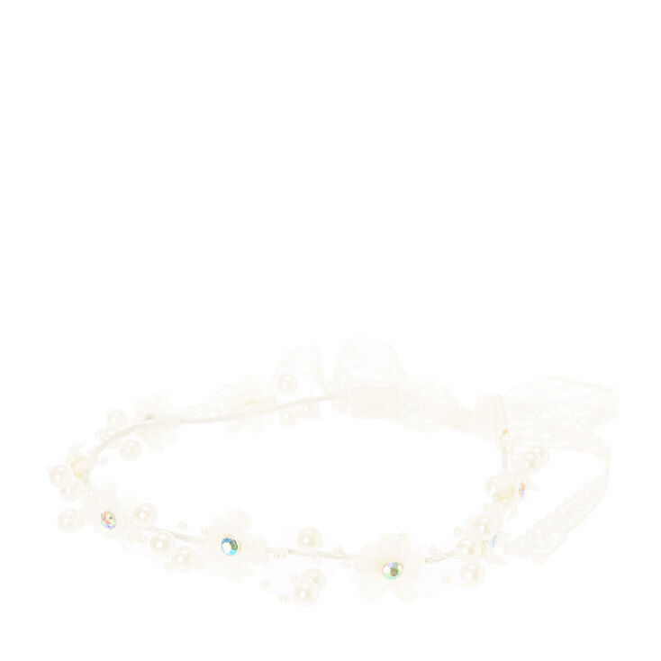Flower and Pearl Garland Headwrap,