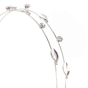Silver Two Row Leaf Stone Headband,