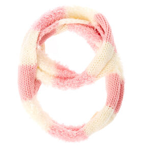 Kids Pink and White Knit Loop Scarf,