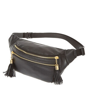 Black Faux Leather Fanny Pack,