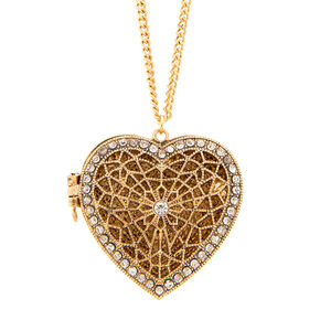 Antique Gold Crystal Accent Filigree Heart Locket Pendant Necklace,