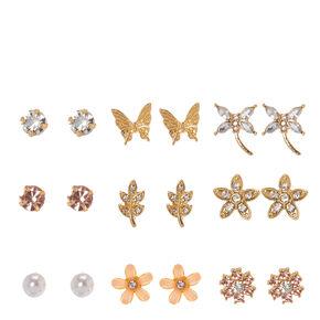Gold-tone Nature Motif Stud Earrings,