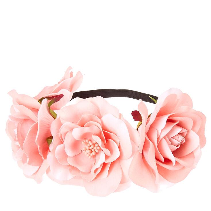 Pink Floral Stretch Flower Crown,