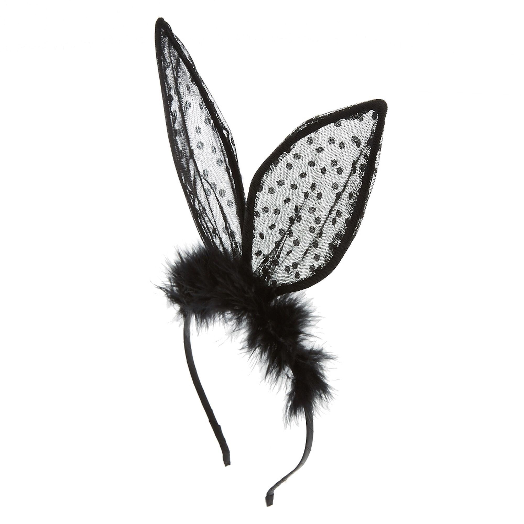 Black Lace Bunny Ears Fuzzy Headband   Claire's