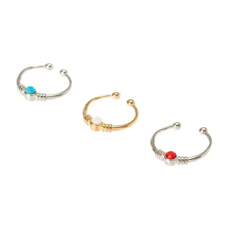 Colorful Crystals Faux Cartilage Hoop Earrings Set ...
