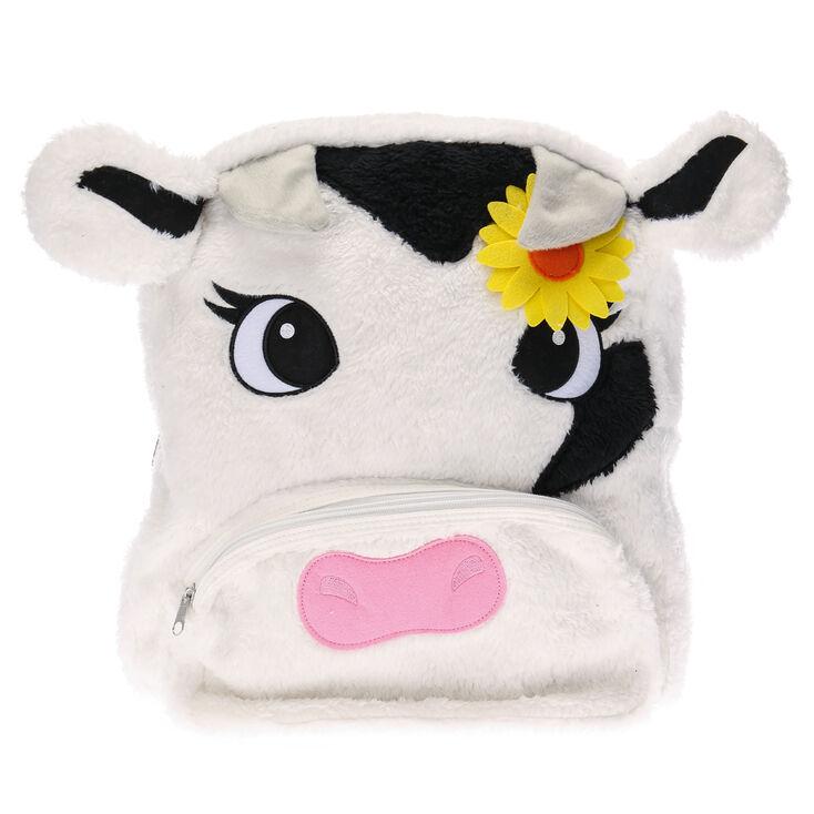sac dos vache en peluche blanche claire 39 s fr. Black Bedroom Furniture Sets. Home Design Ideas