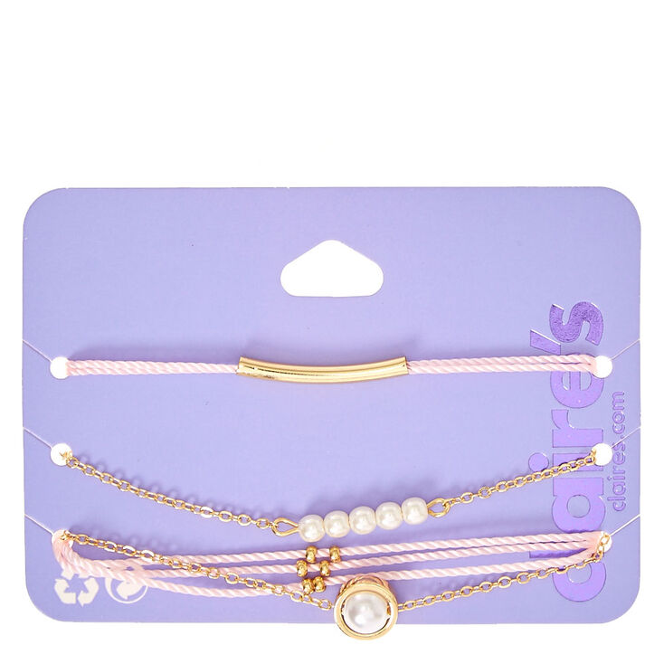 Gold-tone, Pearl and Pink Yarn Bracelets,