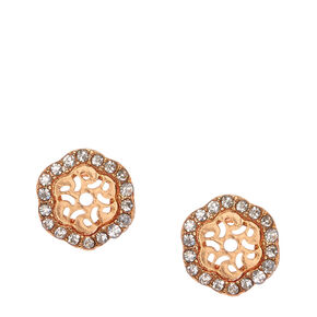 Rose Gold Crystal Hexagon Stud Earrings,