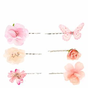 Pink Butterfly and Flower Bobby Pins,