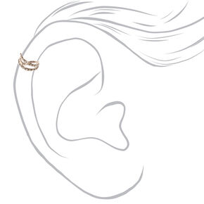 Silver-tone Double Row Crystal Lined Ear Cuff,